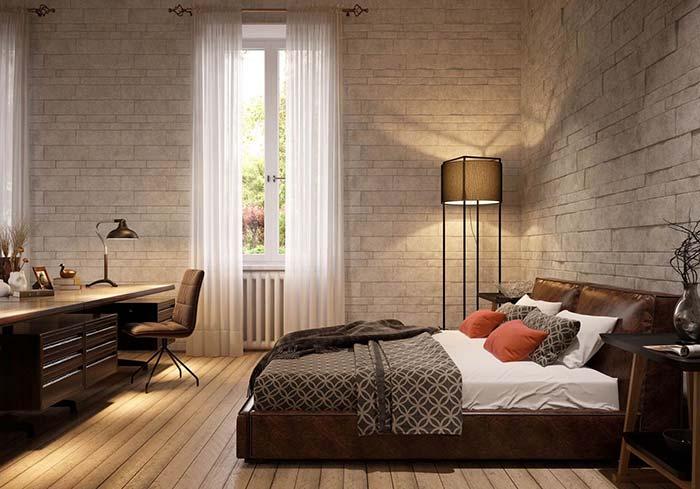A Miracema branca reveste todas as paredes desse quarto do casal