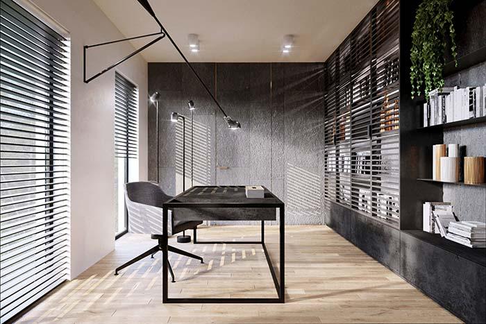 O escritório sóbrio e moderno apostou no uso de miracemas cinzas para compor o projeto de interiores