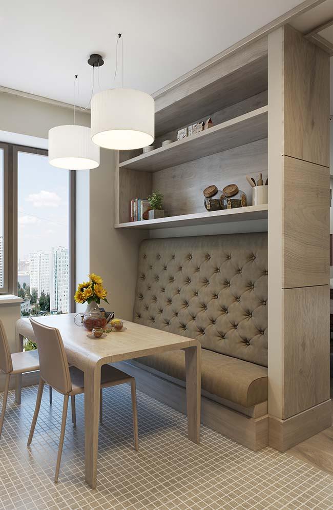 Um cantinho especial e bem confortável na sala de jantar com móveis planejados