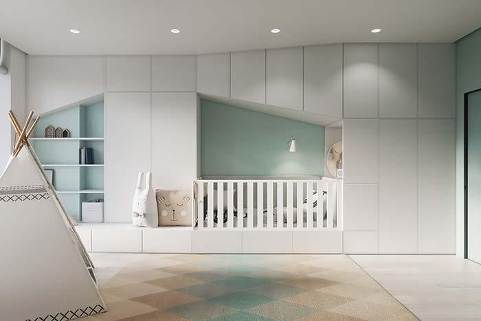 Móvel planejado para quarto de bebê minimalista