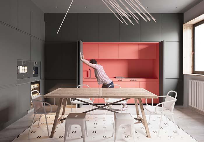 Abre e fecha: essa cozinha planejada se revela vibrante e colorida, mas só quando convém