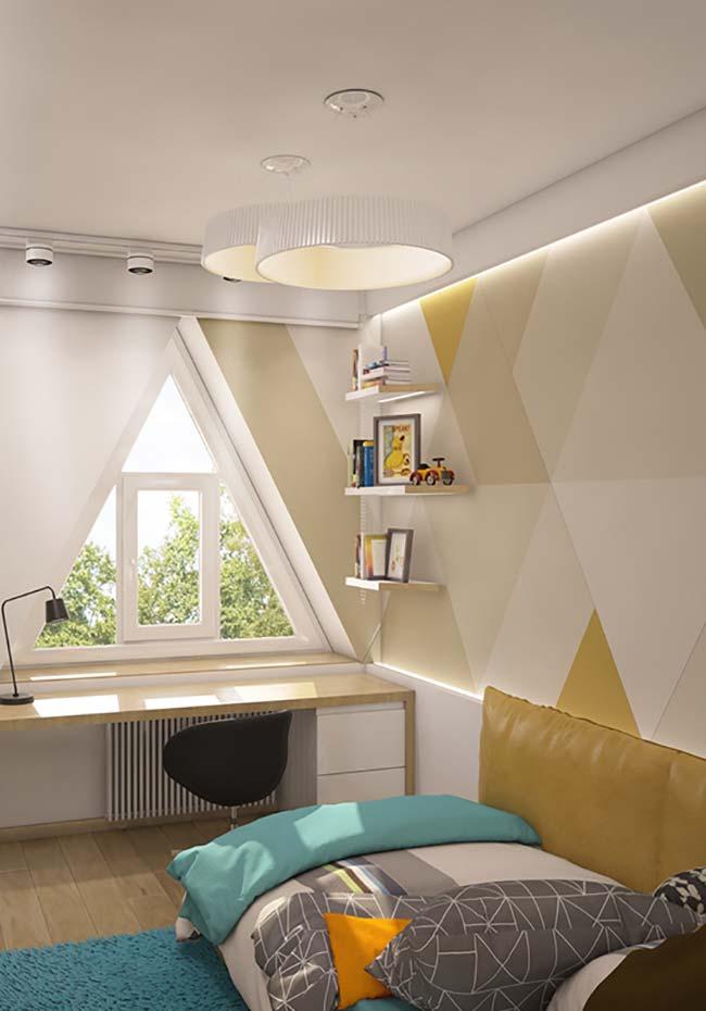 Nesse quarto infanto juvenil o amarelo âmbar foi usado em doses moderadas nos triângulos da parede