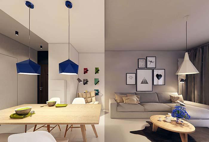 Cores de tintas: se na proposta anterior o rosa se harmonizava romanticamente com o cinza, aqui o azul se combina com o cinza quartz da parede com descontração e jovialidade
