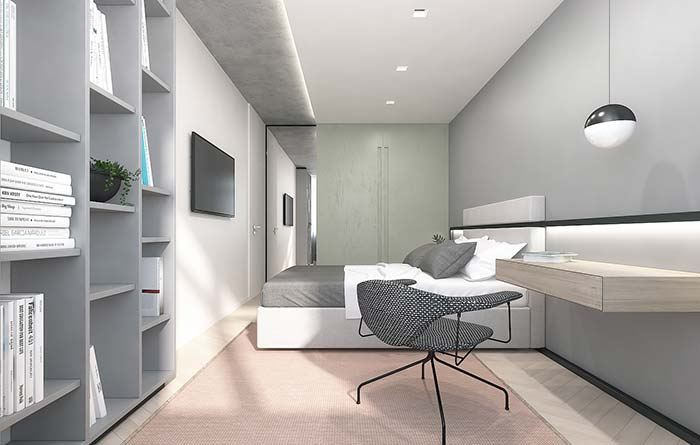 Um quarto cinzento: a cor de tinta está presente em todo o ambiente e, como se não bastasse, nas mobílias também