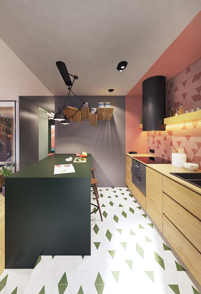 E o que acha da composição rosa e verde? As complementares foram usadas com discrição nessa cozinha