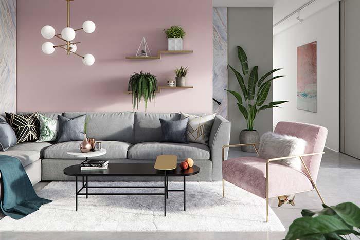 O cinza em companhia do rosa também traz modernidade para os ambientes, só que com um pouco mais de neutralidade