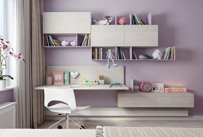 Os tons suaves de roxo, como o lilás, o ametista e o lavanda, são ótimas opções para quartos infantis