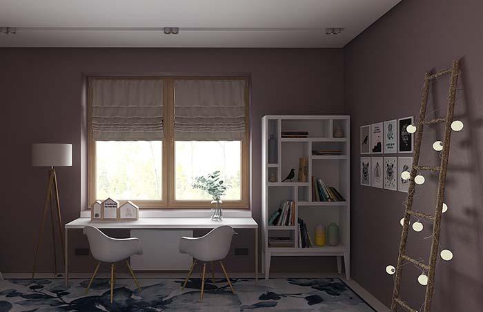 Quarto amplo e clean optou por um único tom de roxo nas paredes