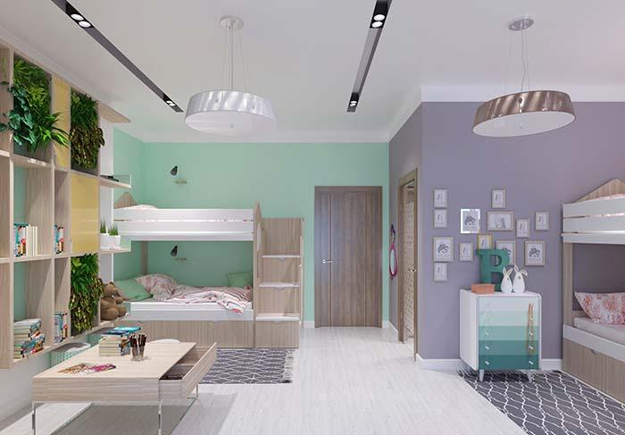 Verde e violeta: uma ótima combinação de cores complementares para quartos infanto juvenis