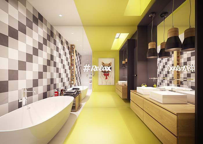 Já no banheiro, a proposta foi criar uma faixa de tom amarelo mostarda que tem inicio no chão e segue até o teto