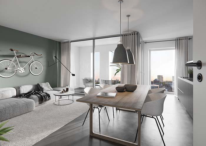 Verde e neutro: uma sala com cores suaves para reforçar a proposta moderna.