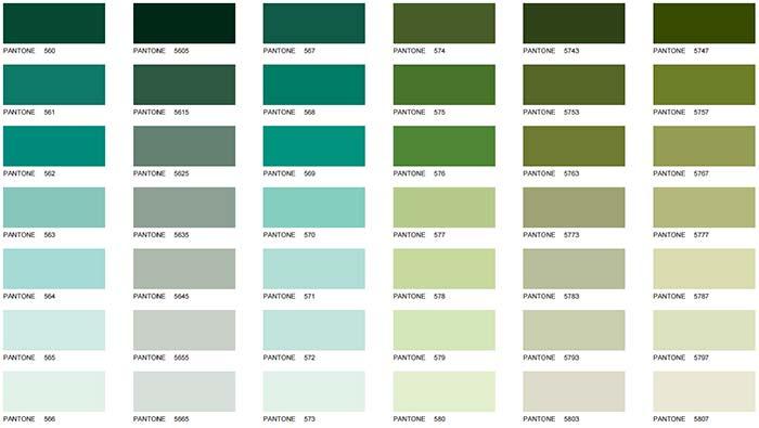 Cores de tintas: verde
