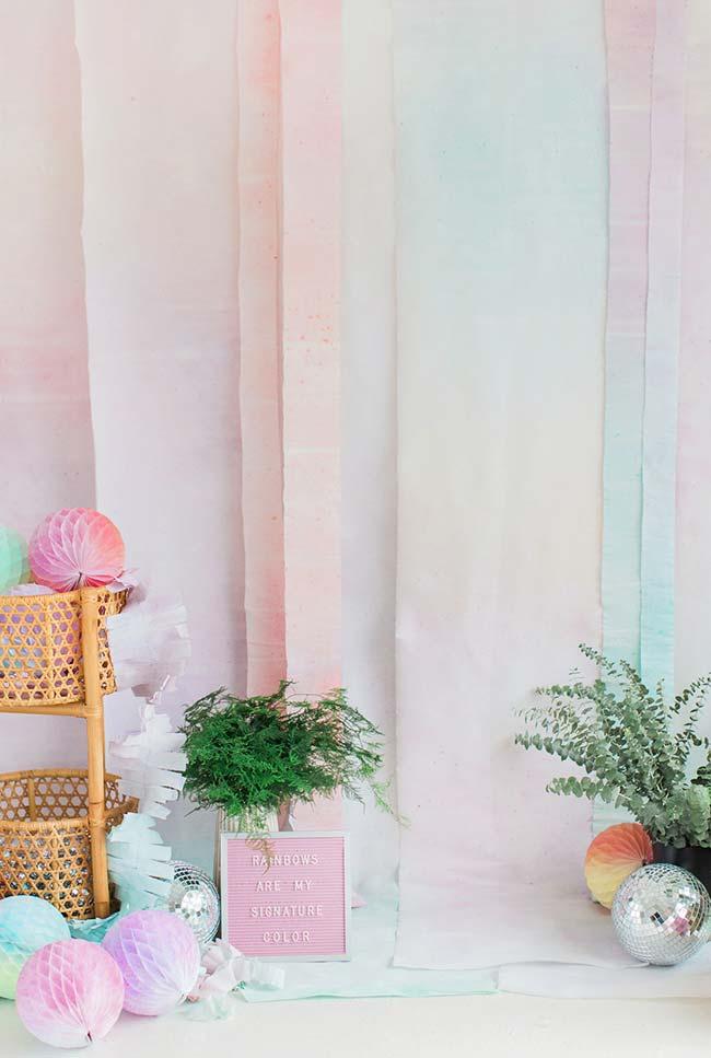 Cortina reta de papel crepom: em candy colors