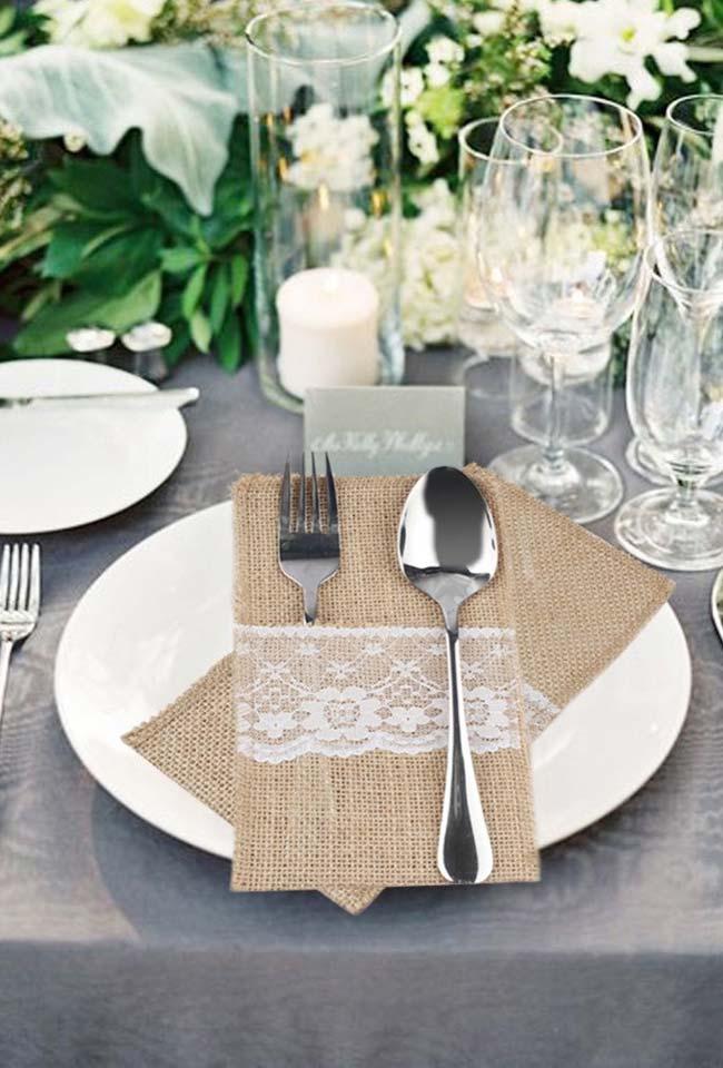 Uma proposta de decoração com juta rústica e chique para o casamento