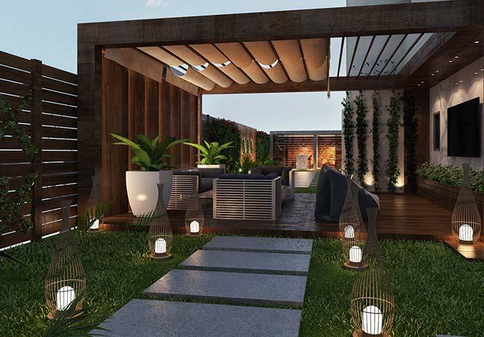 Algumas lanternas para iluminar a passagem desse jardim de grama preta