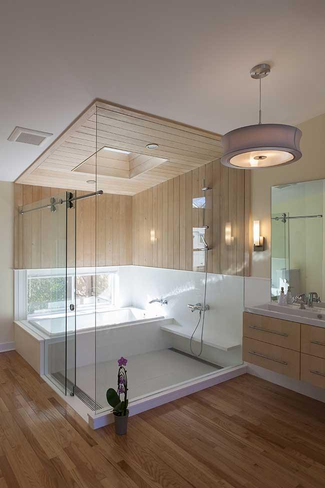 área de banho protegida no banheiro spa