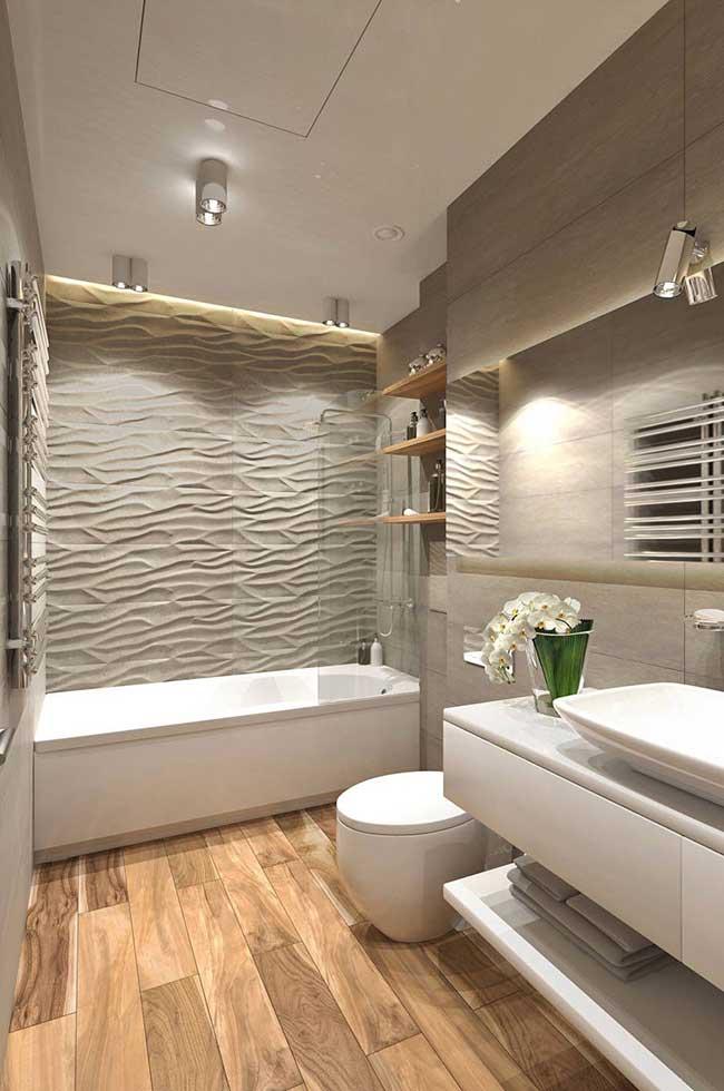 Parede em 3D traz ainda mais aconchego para o banheiro spa