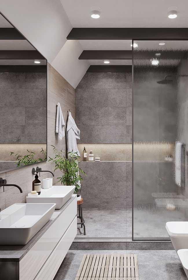 Banheiro cinza spa