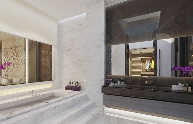 Puro luxo esse banheiro spa todo de mármore