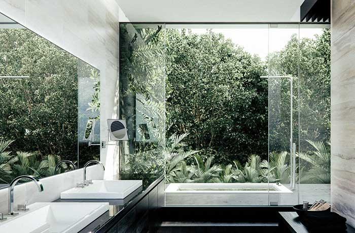Banheiro direcionado a área externa da casa