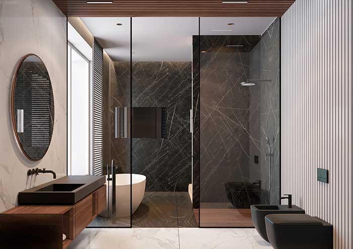 Banheiro spa com madeira
