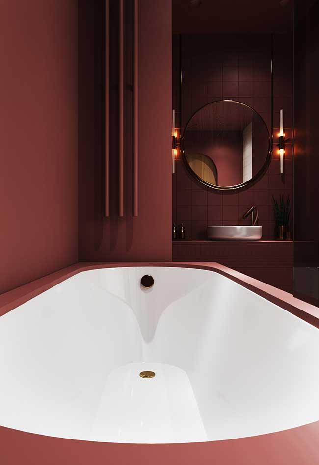 Banheiro spa com tons vermelhos