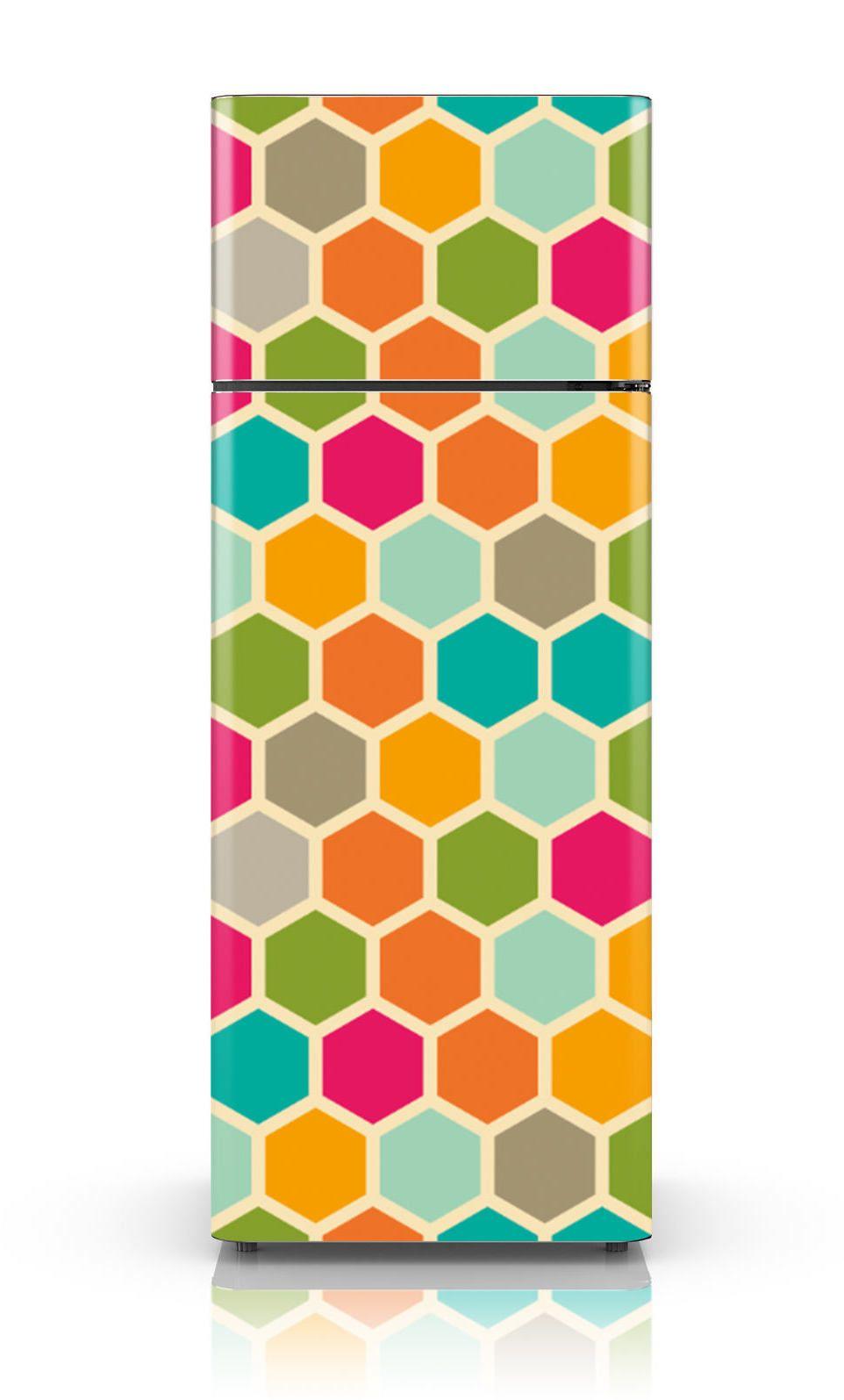 E, pra fechar, um adesivo cheio de hexágonos coloridos