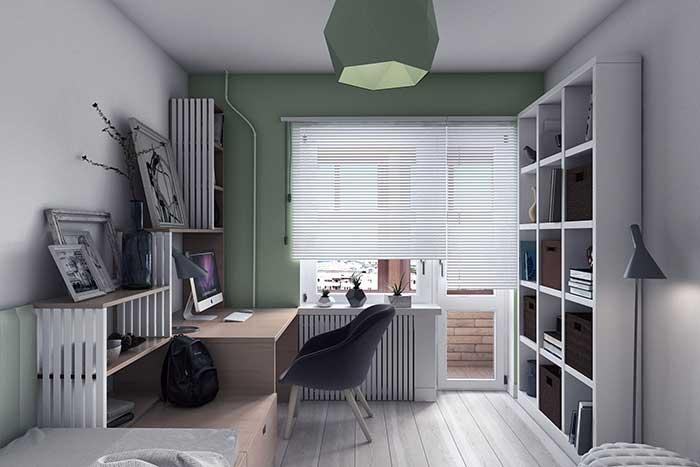 Parede verde musgo no escritório