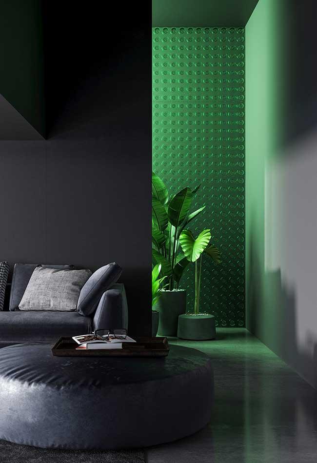 sala moderna apostou no tom de verde jade