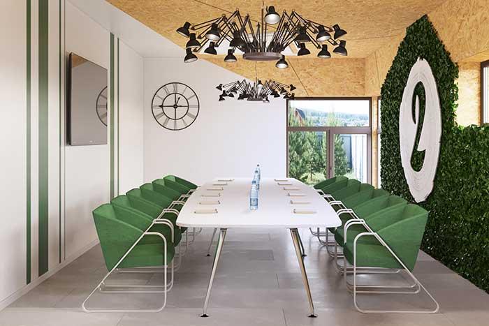 Parede verde em sala de reuniões
