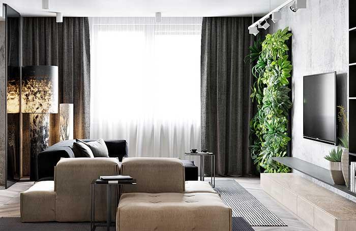 Parede verde em projeto moderno