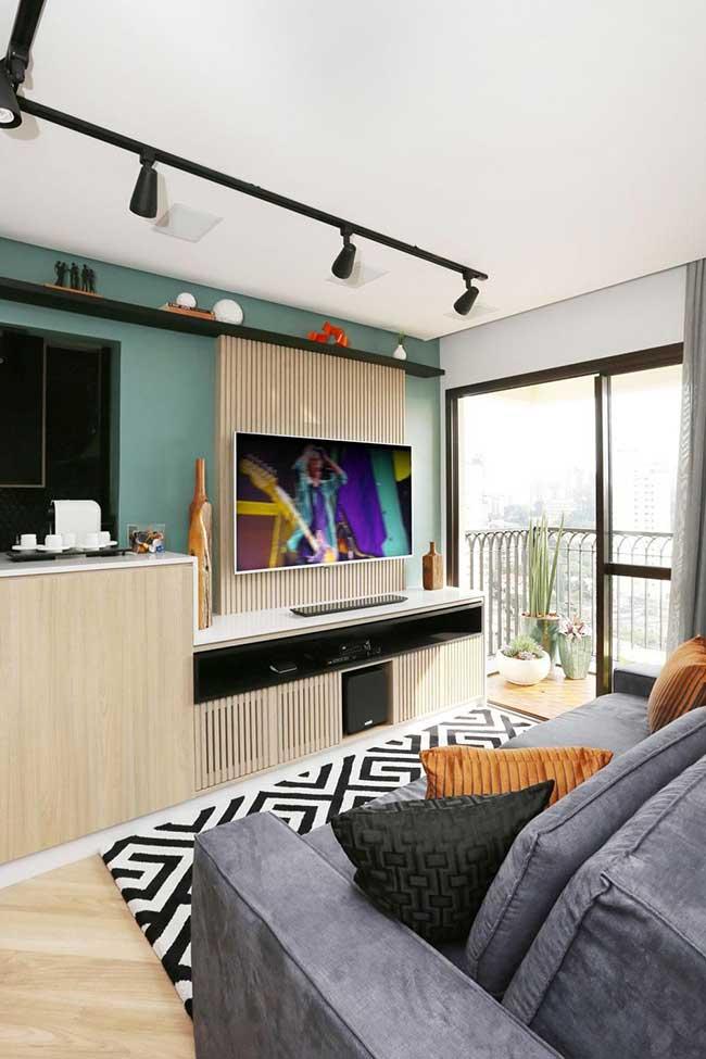 Parede de tv verde