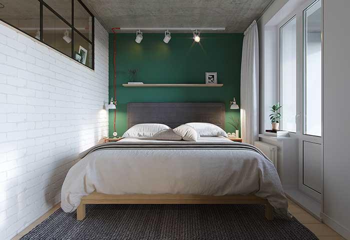 Parede verde quarto pequeno
