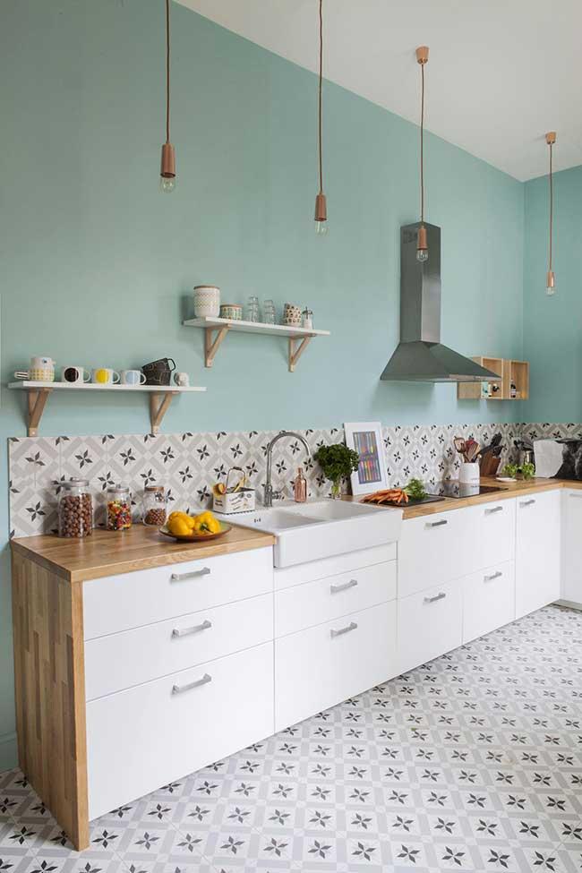 Parede verde cozinha