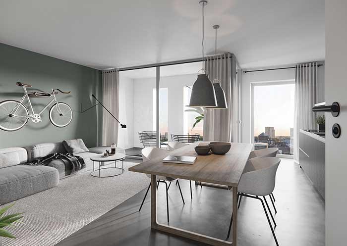 Parede verde sala moderna