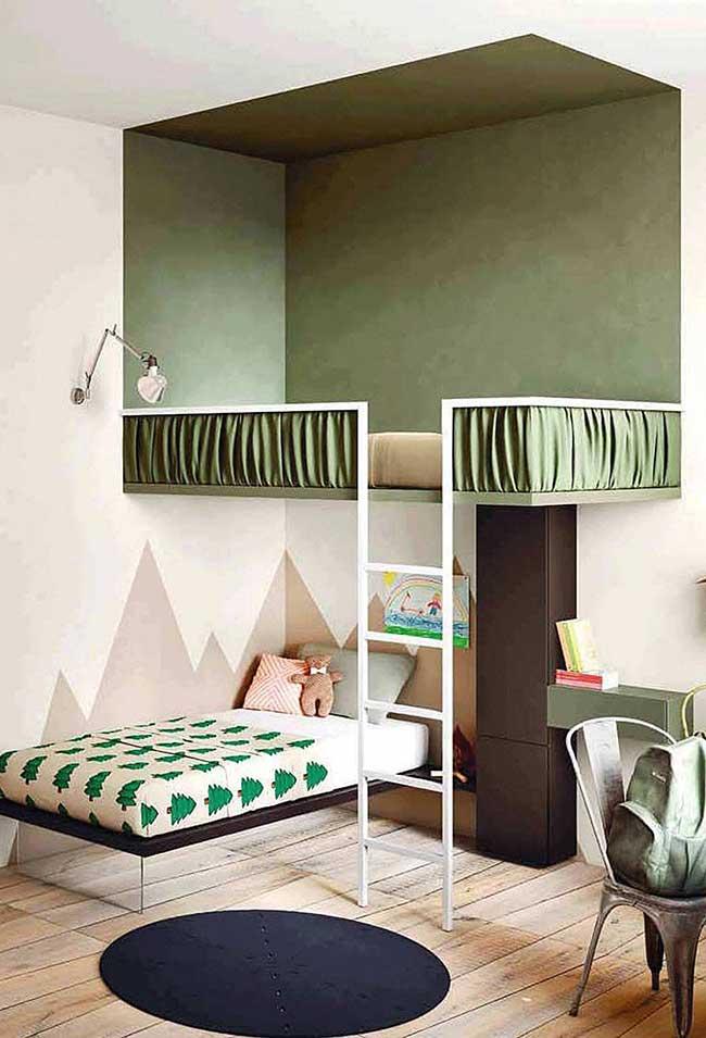 Quarto infantil decorado com tons de verde