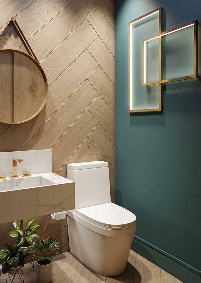 Parede verde oliva no banheiro