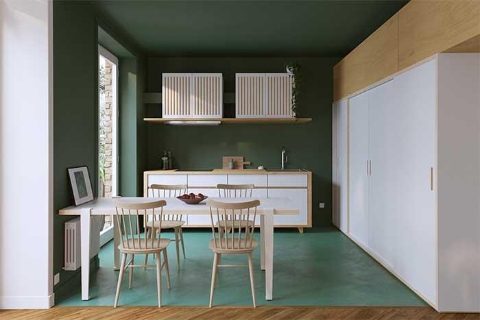 Parede verde na cozinha