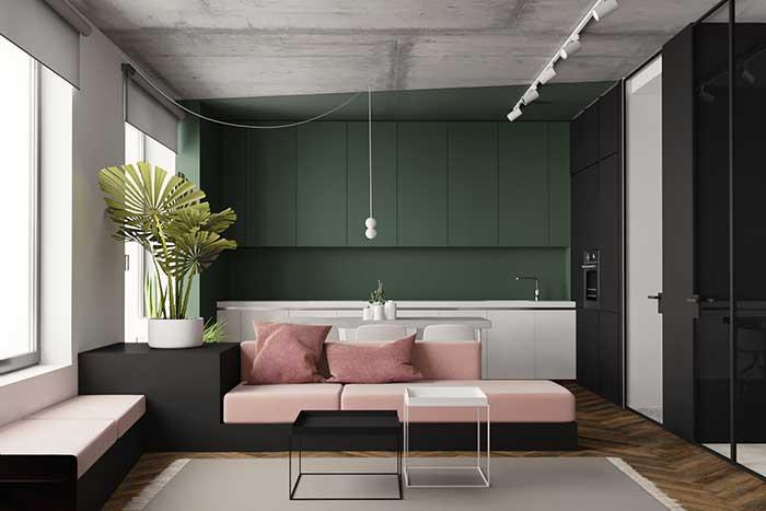 Cozinha e sala com Parede verde
