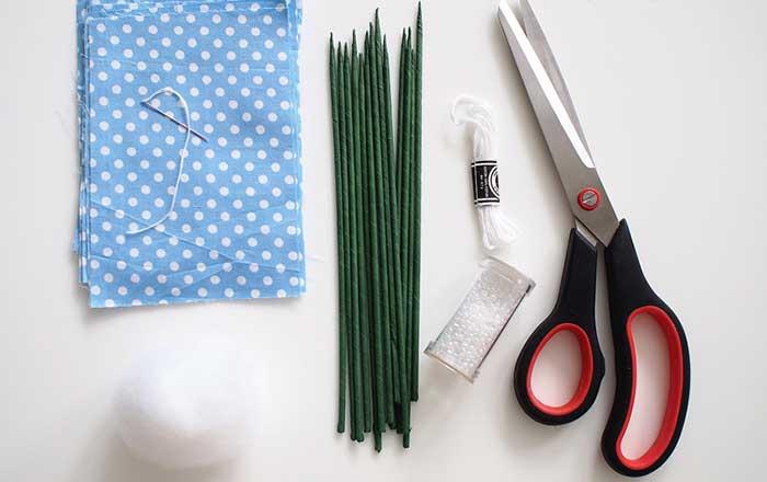Materiais necessários para fazer tulipa de tecido