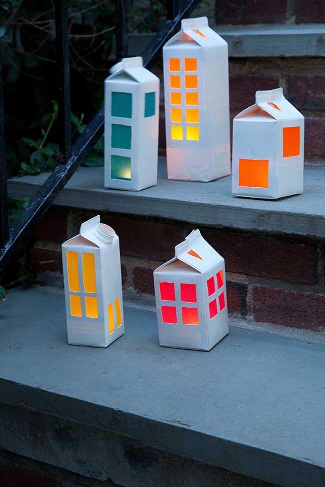 Caixa de leite para reaproveitar na decoração sustentável