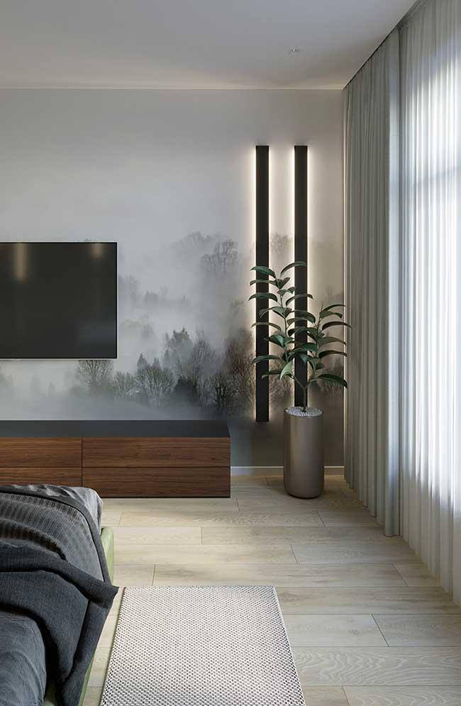 Fita de LED discreta no quarto