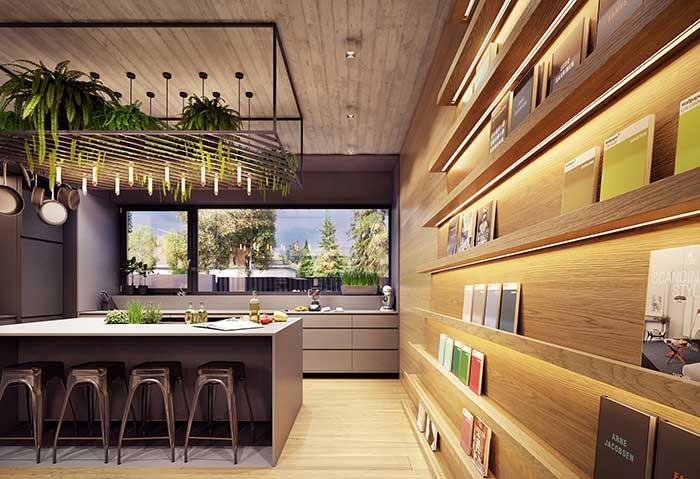 Projeto de iluminação com fita de LED para cozinha