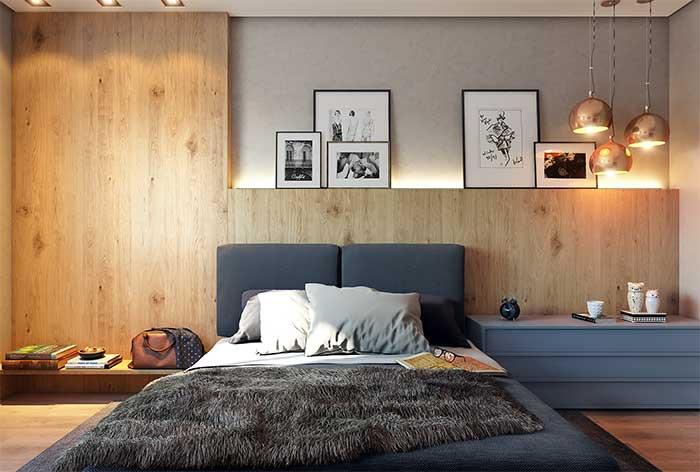 Fita de LED em parede cinza