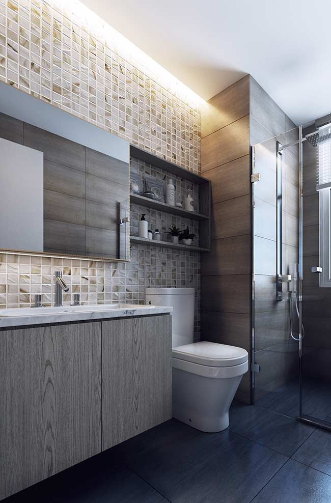 Nicho de madeira para banheiro