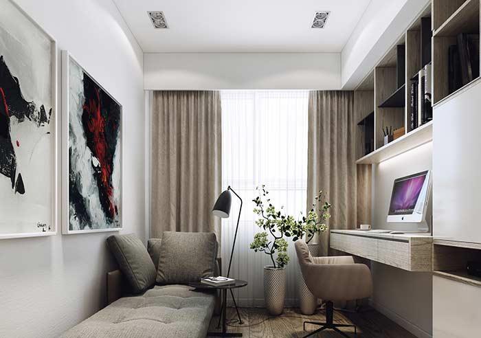 Nesse home office, os nichos seguem exatamente a mesma cor do restante da decoração