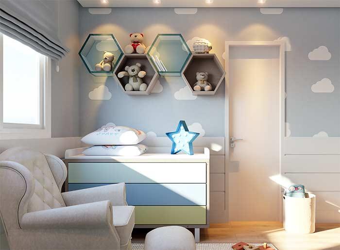decoração com nichos para quarto de bebê