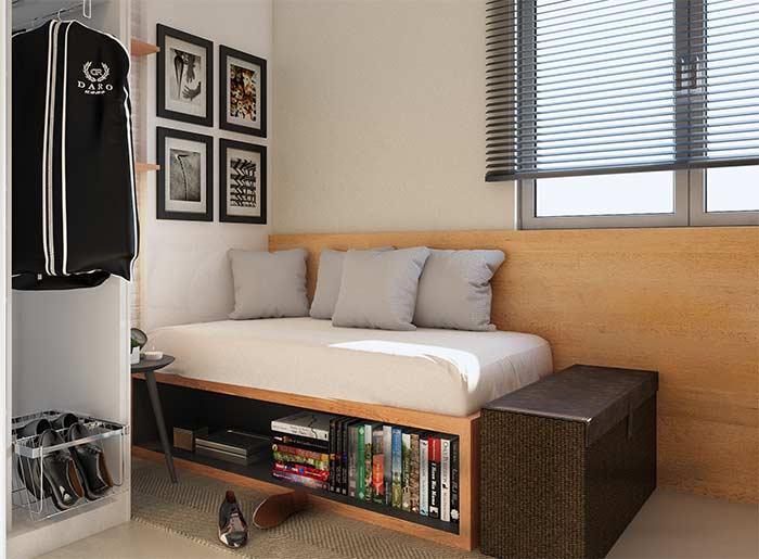 Sob a cama, os nichos são muito úteis e não perdem em nada o efeito decorativo