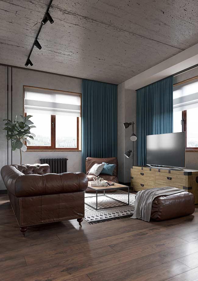 Azul petróleo nas cortinas