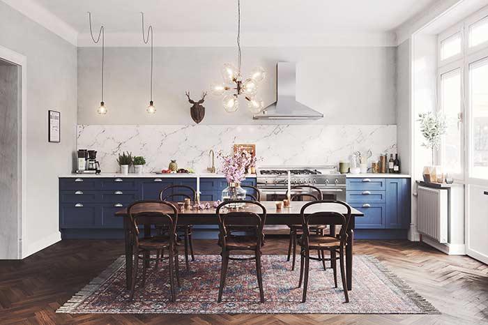 Essa cozinha é a cara de uma decoração que não tem medo de mesclar estilos e tendências
